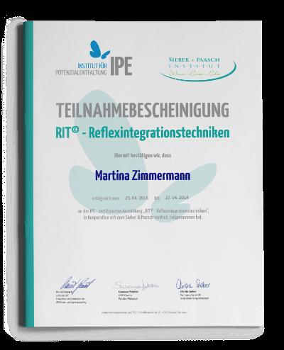Teilnahmebescheinigung Reflexintegrationstechniken RIT