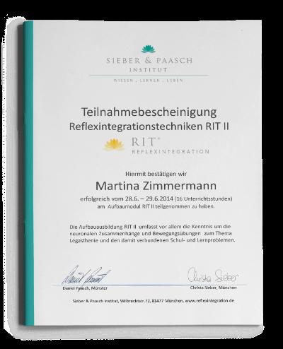 Teilnahmebescheinigung Reflexintegrationstechniken RIT 2