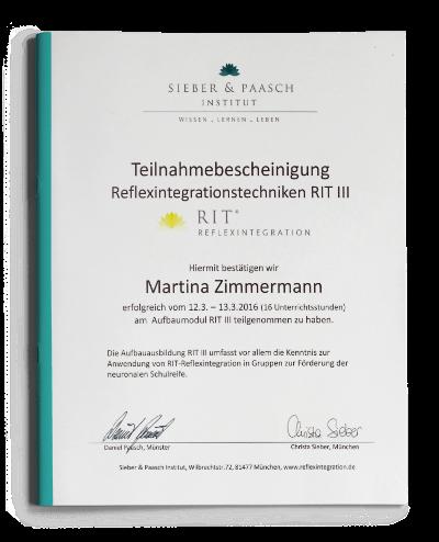 Teilnahmebescheinigung Reflexintegrationstechniken RIT 3